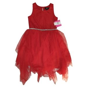 Amy Byer Red Tulle Bottom Dress Silver Waistband